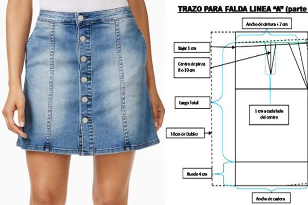 3c2ffa629 Falda corta en Jean Paso a Paso, corte A. – Mi Mundo De Moda ...