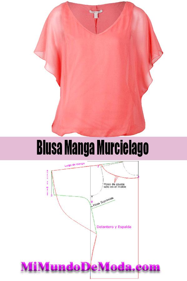 blusa manga murcielago patrones