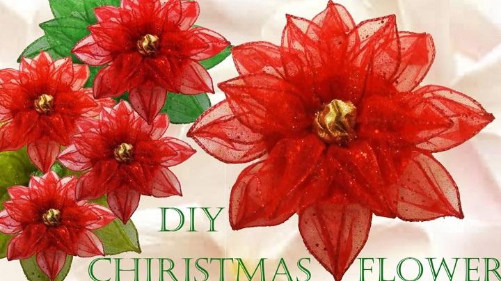 Flor De Navidad En Cinta De Organza Alambrada Hermosa Y Fácil De Hacer Mi Mundo De Moda Cursos De Costura