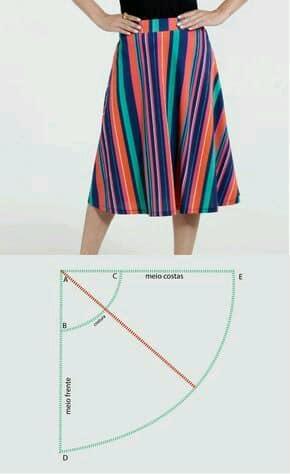 molde patron falda basica