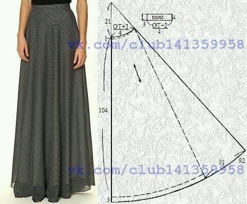molde patron falda larga