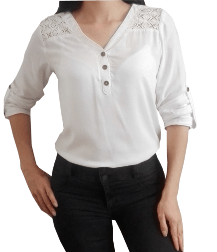 blusa con pechera v
