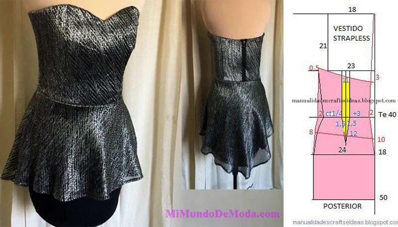 vestido strapless moldes patrones